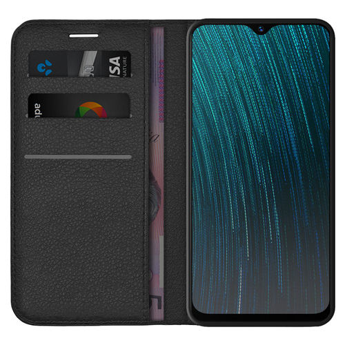 Leather Wallet Case & Card Holder Pouch for Oppo AX5s - Black